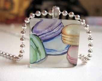 Pendant Necklace - Macarons Watercolor Art Necklace - Glass Tile Pendant