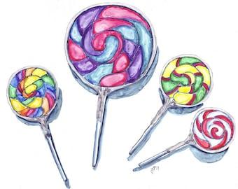 Watercolor Painting - Swirl Lollipops Art, Watercolor Art Print, 11x14 Wall Art, Candy Series no. 5