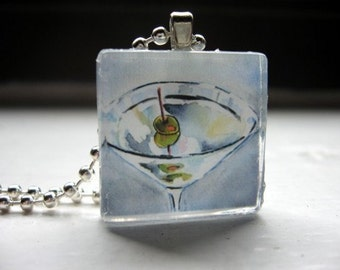 Martini Necklace Glass Tile Pendant Necklace, Wearable Watercolor Art