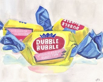 Watercolor Painting Illustration Art Dubble Bubble Gum Candy, Watercolor Art Print, 11x14 Wall Art, Candy Series no. 2