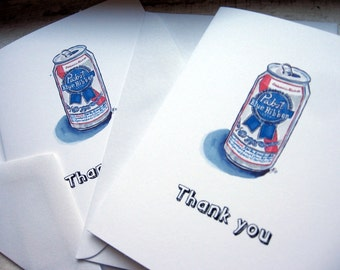 PBR Thank You Cards, Pabst Blue Ribbon Beer Watercolor Art Cards, Set of 4