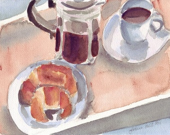 Watercolor Painting - Croissant and Coffee French Press Watercolor Art Print, 11x14