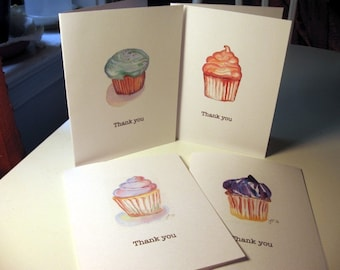 Cupcake Thank You Cards, Thank You Notes - Set of 12 Notecards Set