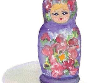 Watercolor Painting - Russian Nesting Doll Art, Matrushka Watercolor Art Print, 8x10