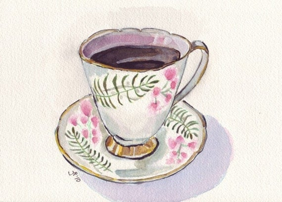 Watercolor painting teacup art cup with coffee watercolor for Coffee watercolor