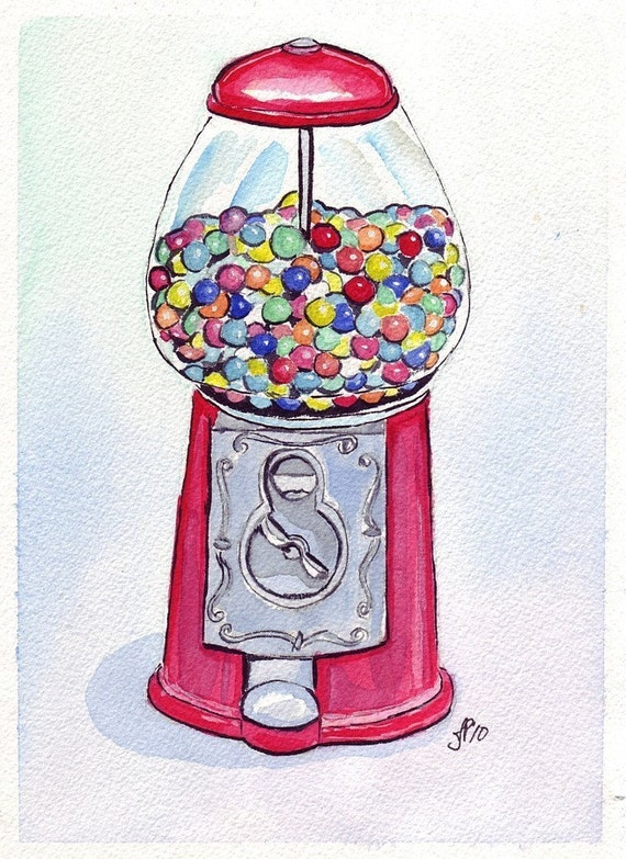 11x14 Print - Watercolor Art Painting Illustration - Gumball Machine Art -Candy Watercolor Art Print, 11x14