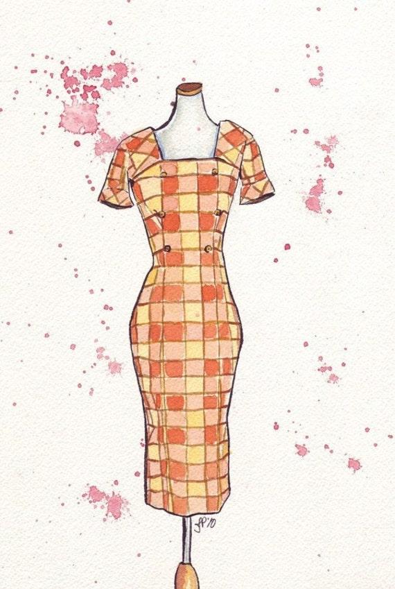Watercolor Painting - Fashion Illustration - Vintage Plaid Wiggle Dress Watercolor Original Art, 7x10