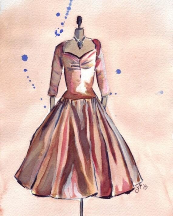 Watercolor Painting - Bronze Vintage Dress Watercolor Art Print, 8x10