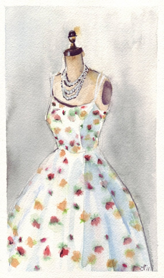 Watercolor Painting - White Vintage Summer Dress with Flowers Watercolor Art Print, 5x7