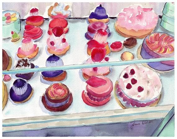 Laduree Watercolor Painting - French Pastry Case Art, Watercolor Art Print, 8x10 Wall Art
