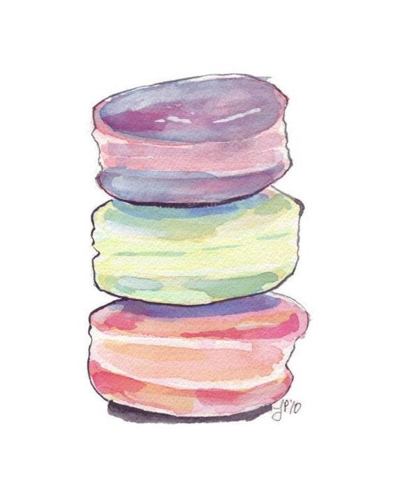Macarons Art no. 1 Watercolor Painting - Food Illustration - Macarons Stack Watercolor Art Print, 5x7