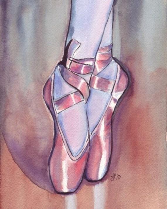 Watercolor Painting - Pink Ballet Shoes Watercolor Art Print, 8x10