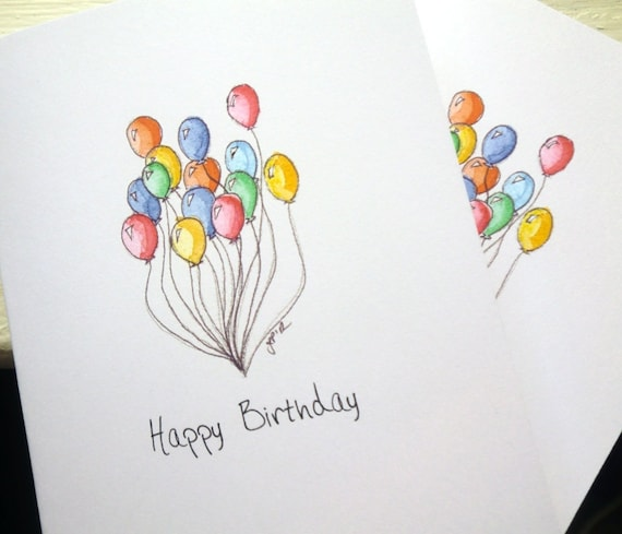 Balloon Art Birthday Cards Set Watercolor Art Notecards Set – Birthday Card Art