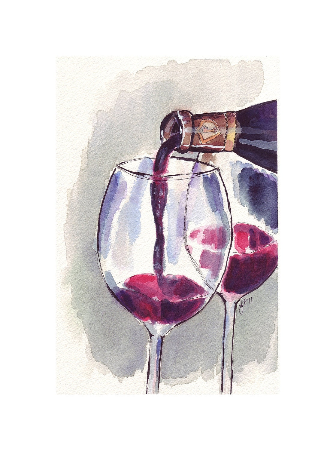 Red wine glass pour watercolor art print 5x7 print for Painting and wine