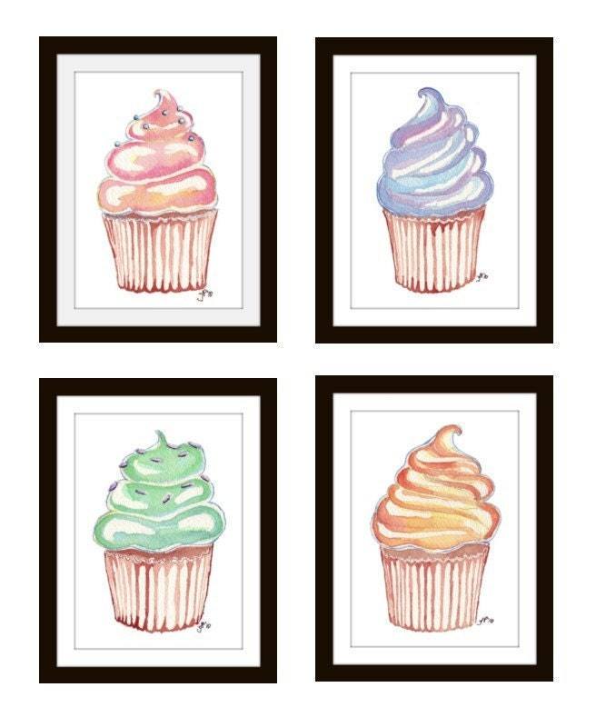 Children illustrations set of 4 cupcake prints wall art 5x7 for Cupcake wall art