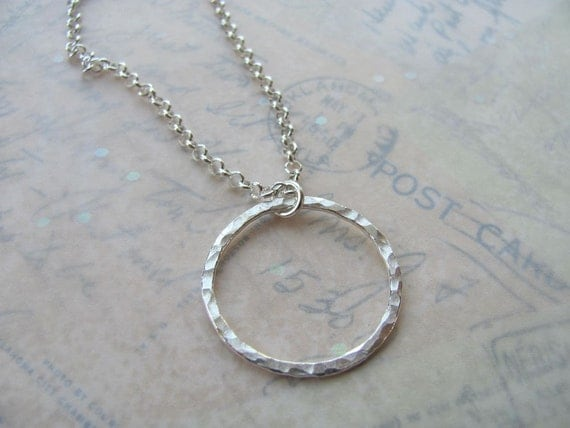 Circle Necklace, Medium, Fine Silver, .999, Eternity Circle, round hammered ring, medium