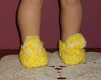 American Made 18inch Clothes - Doll Slippers in Yellow