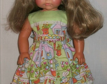 """American Made Doll Dress - Lime Green and Easter Print Dress for 18"""""""