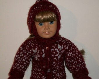 "1854 - Woolen Sweater Hat & Mittens for Winter for 18"" dolls"