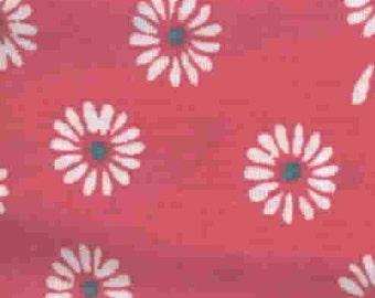 Vintage 1960s Bright Flower Power Bright Pink Daisies Kids Child Juvenile Cotton Retro Fabric Yardage