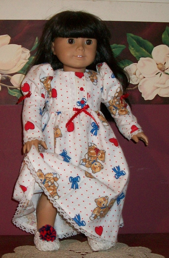 American Girl Doll Clothes  Teddy Bears, Bows, and Hearts Nightie with Slippers