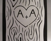 Oak Tree Carved Initials Cut Out