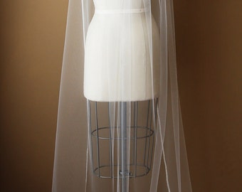 Chapel Length Veil, Upcycled Ivory Antique Lace - The Paige Veil