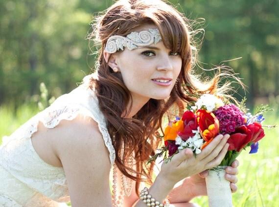 Vintage Style Wedding Headband, The Charlotte Sash/Headband