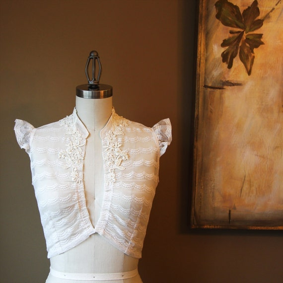 Ivory Lace Wedding Shrug with Hand Beaded Appliques, Vintage Lace (The Sarah Shrug)