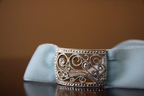 Tiffany-Blue Vintage Velvet Wedding Headband - The Annie Headband