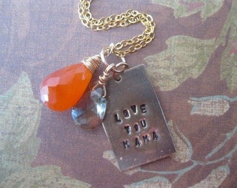 Love You Mama Mixed Metal and Gemstone Necklace