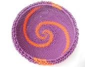 African Zulu Wire Basket Purple and Orange