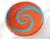 African Zulu Wire Basket Orange and Turquoise