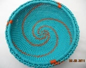 African Zulu Wire Basket Turquoise and Orange