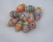 Pink Orange Yellow Green Purple and Blue Hand Rolled Paper Beads
