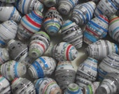 White Gray Blue Red and Green Hand Rolled Paper Beads