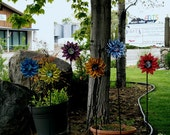 Bright and colorful fused  glass flowers for your garden. Happy flowers that will never fade