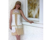 OOAK Handmade Picnic Dress Vintage Lace Linen Embroidered Eco Friendly