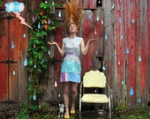 RESERVED Pastel Electrical Storm Dress . One of a Kind . Medium