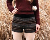 Merino Wool Knit Sweater Shorts Tribal Boho Upcycled Eco Friendly Size XS to Small