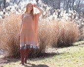 SALE Hippie Boho Silk & Cashmere Kaftan Dress Gypsy Indian Ethnic Fringe Golden Natural One Size Fits All