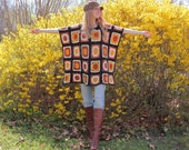 Crocheted Hippie Poncho with Granny Squares in Earth Tones Eco Upcycled Vintage Accessory