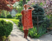 Boho Chic Dress in Red & Gold Cashmere and Silk Gypsy Kaftan Caftan with Fringe Metallic One Size Fits All