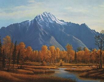 Fall Landscape Large Fine Art Print of an Original Painting w Mountains & Leaves - Log Cabin Decor Alaskan Wilderness