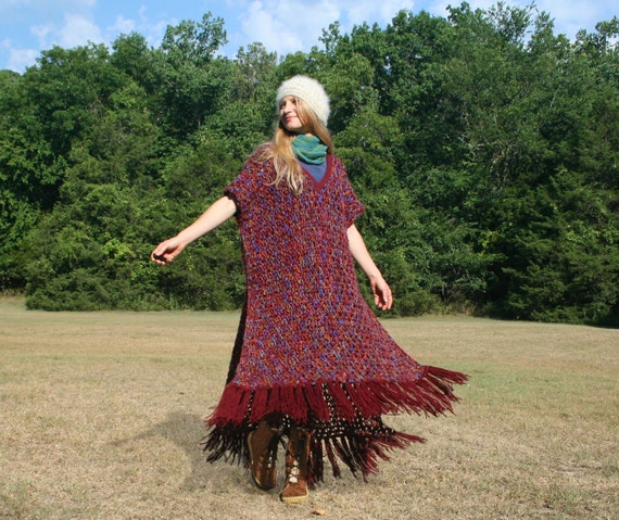 Crocheted Poncho with Long Fringe & Bohemian Hippie Flair OOAK