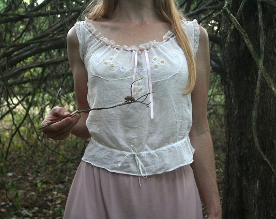 Vintage Victorian Chemise Tank Top in Lace & White Cotton Upcycled Eco Small Medium
