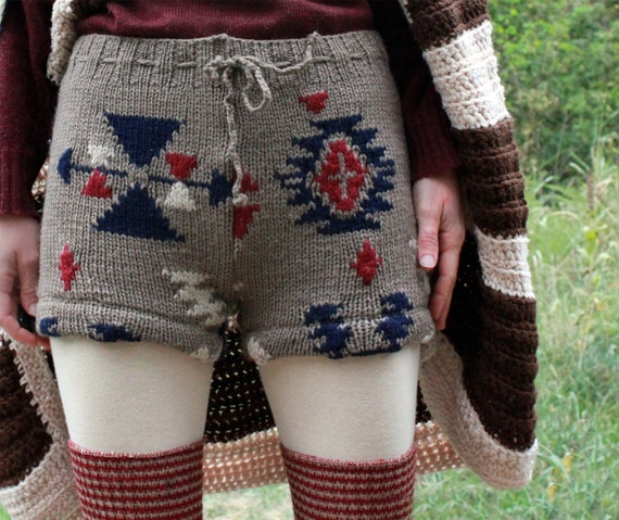 Upcycled Wool Sweater Shorts Knit Crocheted Aztec Ethnic Tribal One-of-a-Kind S M L