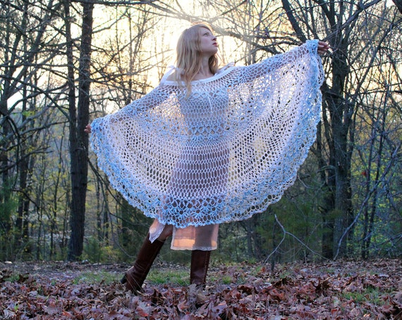 Gypsy Hippie Lace Dress Crocheted White Cotton Convertible Poncho Cover Up One Size OSFA