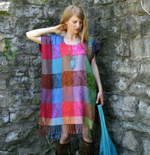 Silk & Cashmere Hippie PATCHWORK Kaftan Dress with Fringe Boho Style One Size