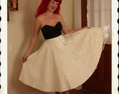 GORGEOUS 1950's Designer Blooming Magnolias Textured Satin Huge Sweep Full Circle Skirt by Alex Colman - Couture - Bridal - VLV - Size XS